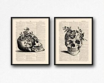 Floral Skull Art, Dictionary Skull, Mystery Poster Pack, Skull Print Set, Sugar Skull Kitchen, Coworker Gift Set, Geeky Women Gift, Cool S32