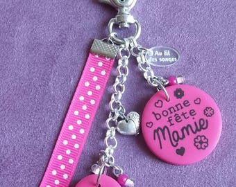 "bag charm or keychain ""Happy birthday Grandma"""