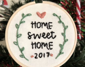 Home Sweet Home 3in embroidery hoop, home decor, ornament, personalized