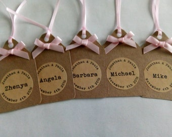 Personalised wedding place setting tags, wedding favour tags, Kraft wedding favour tags