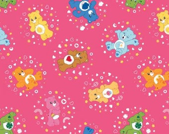 Hot Pink Care Bears Belly Badge Cotton fabric from Camelot Fabrics 44010102-3 America Greetings licensed fabric by yard metre quilting