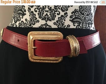 Winter Sale Vintage MILOR Ruby Red Leather Belt with a Gold Buckle
