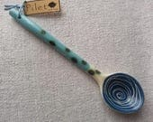 Pottery spoon with blue spiral-Ceramics and pottery-Clay spoon-Ceramic Spoon-Hot chocolate spoon-Tea or Coffee mug spoon-Stoneware spoon