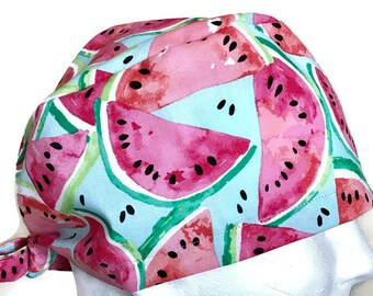 READY TO SHIP Surgical cap/Scrub hat Watermelon Pink spring/summer Blue Womans surgical cap