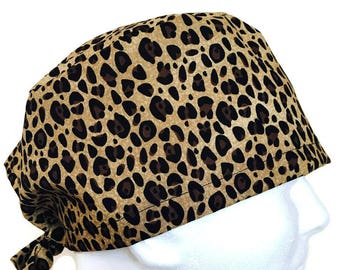 Leopard Animal Print/ Woman's Surgical Cap/ Scrub hat/ Cemo cap/ Veterinarian hat