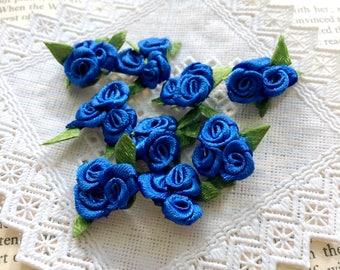 Cobalt Blue Roses Bouquet (20pcs/ 50pcs), Triple Satin Roses, Mini Blue Roses with Leaf, Rose Boutonniere, Sewing Appliqué, Blue Wedding