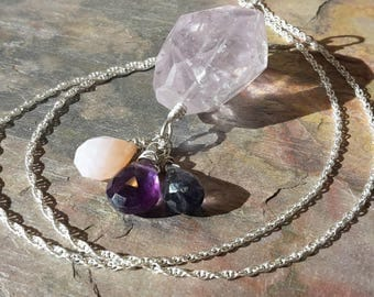 Lavender Amethyst nugget Sterling silver pendant necklace, with 3 different natural gemstones. Handmade in Scotland. February birthstone.