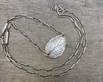 Sterling silver leaf. Leaf. Natural leaf.  Hand made. Gentle necklace with leaf. Leaf from sterling silver. Oxidized silver leaf