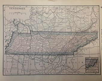 1915 Tennessee Map - Beautiful Old Map of Tennessee - Small Antique Map - Vintage Atlas Map - 5x7