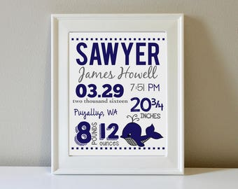 Personalized Birth Announcement Wall Art (Clipart and Up to 3 Colors)