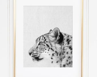 Snow Leopard Print, Wild Cat Print,Snow Leopard Poster, Black And White, Scandinavian Modern, Animal Instant Download, Nursery Animal
