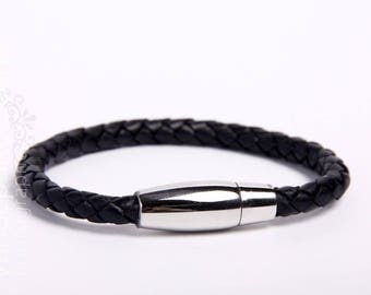 Black leather with stainless steel magnetic clasp bracelet