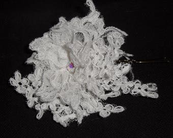 White flower bridal hair stick