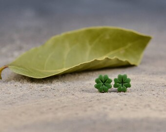 Clover Earrings, Four Leaf Clover Earrings, Clover Earring Stud, Titanium Posts, Green earrings, Good Luck Jewelry