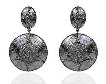 SDE1794 - Silver hammered diamond Black RH earrings