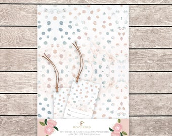 Spots wrapping paper, spotty wrapping paper, spot artwork, wrapping paper and gift tag set, gift wrap, spot gift tags