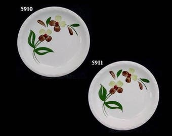 "Blue Ridge Plate (Lot of 2) SPRAY 6.25"" Bread Cake Pie Southern Potteries Piecrust Green Brown Flowers Dinnerware (B30) 5910 5911"