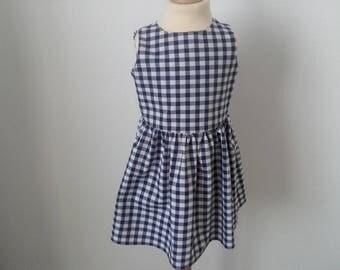 Navy gingham dress, 4t