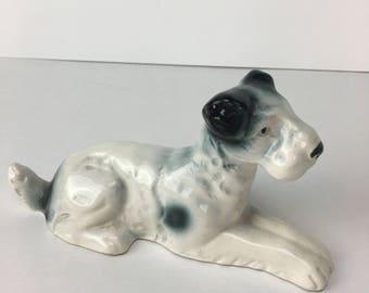 Vintage Terrier Dog figurine, Ceramic laying Dog figurine, Wire haired Terrier, Fox Terrier figurine, Black and white dog