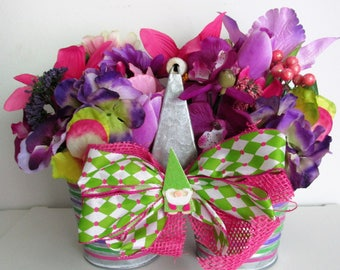Hand-Painted Garden Themed Silk Flower Arrangement in Striped, Double Galvanized Pails, featuring a Handmade Bow with a Garden Gnome