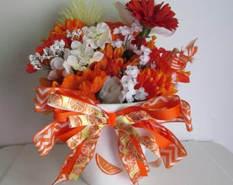 Hand-painted Orange Themed Silk Flower Arrangement, featuring a Handmade Bow and Pinwheel Pick
