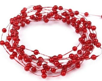 Beaded Garland with small beads in Berry