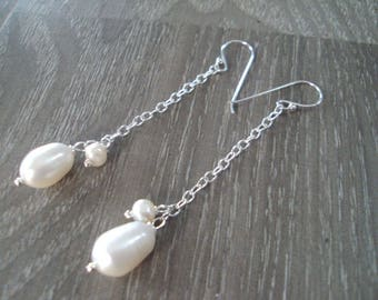Pearl earrings,sterling silver earrings,chain earrings