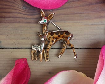 Lovely 1960's Fawn & Deer Brooch- Enamel And Marcasite