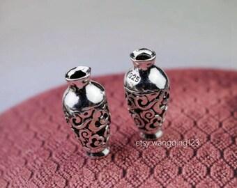 2 pcs sterling silver vase beads bead charm pendant  NR2