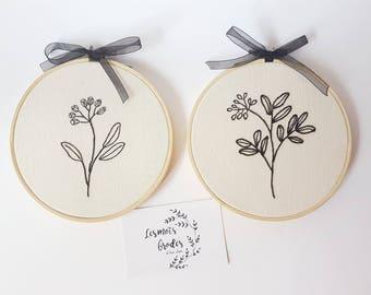 Black floral embroidery hoop