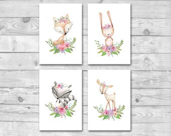 Wald-Kinderzimmer-Dekor-Drucke-Set, Set von 4 Wald Tier Drucke, Wald-Kinderzimmer-Drucke, Boho-Wald, Wald Tiere Kinderzimmer Wand Kunst