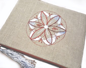 Hand embroidered linen pouch
