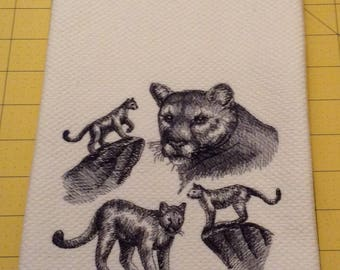Mountain Lion Collage!  Embroidered Williams Sonoma All Purpose Kitchen Hand Towel, Made in Turkey, XL