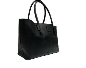 Great Shopper.  Leather bag used look leather natural black/black Ledershopper/leather case in leather vintage design/shopping bag handmade