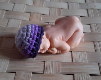Miniature violet gradient polymer clay baby bonnet