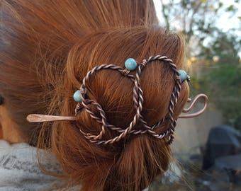 Celtic bun clip, celtic hair, copper hair clip