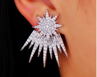 Silver Plated Star shaped earrings for women