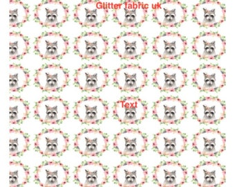Raccoon printed canvas, bow fabric. Cute raccoon fabric for bows. Raccoon