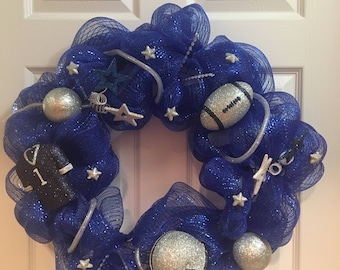 Football Deco Mesh Wreath (Blue/Silver/White) 18""