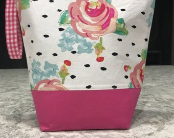 Pink Floral Project Bag -Tall