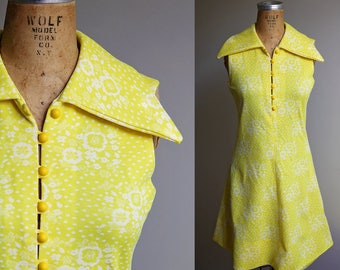 1970s Yellow Sleeveless Summer Dress - Small