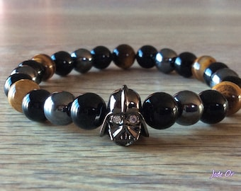 Mens Star Wars Darth Vader with 8mm meditation stones bracelet
