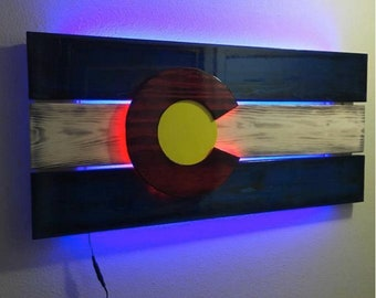 COLORADO wood flag with LED lights
