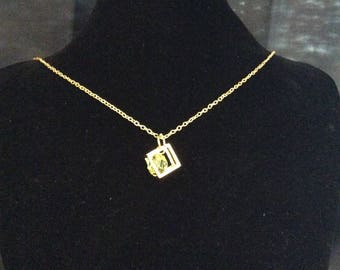 Gold plated encased crystal necklace