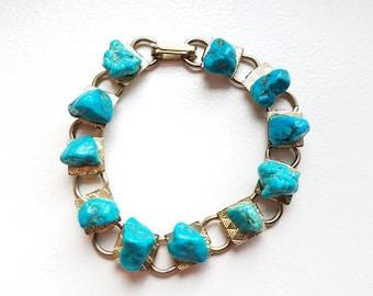 Turquoise Stone Link Bracelet