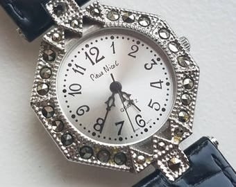 Pierre Nicol Marcasite Watch with Black Leather Band