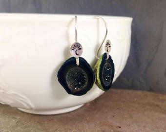 Lotus Collection: Baby Black Geode Earrings with Hand-Stamped Detail, Natural Gemstone Druzy Earrings, Small Tabasco Geode Crystal Earrings