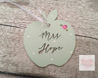 End of term Personalised Teacher Gift Tag, Dangly, Apple