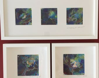 Abstract paintings 'beauty from ashes'. 5 pieces in total. Framed and mounted.
