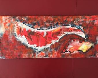 "Abstract Acrylic Painting ""Scars II"", 30x70 cm"